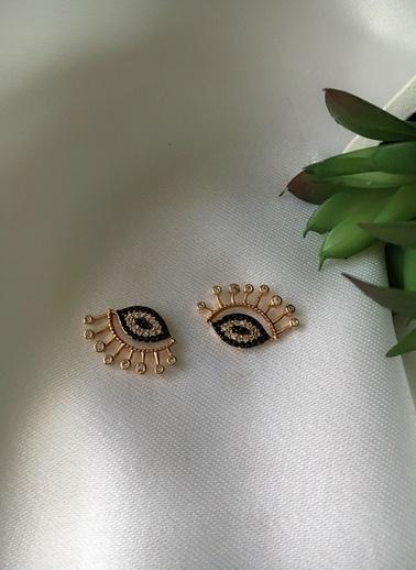 My Joyas Design Kirpikli Göz Küpe Altın